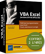 VBA Excel (versions 2019 et Office 365), microsoft,  macro-commande, macro commande, office, api, excel vba, excel 2016, office 2019, office 365, livre VBA, objet, langage objet, programmation, macro, macros, Visual Basic, VB, Office 2019, Office 365, LNTPRI19EXCV